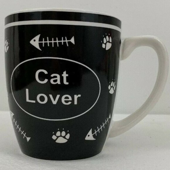 Cat Lover Mug Black White Fish Bones Skeleton